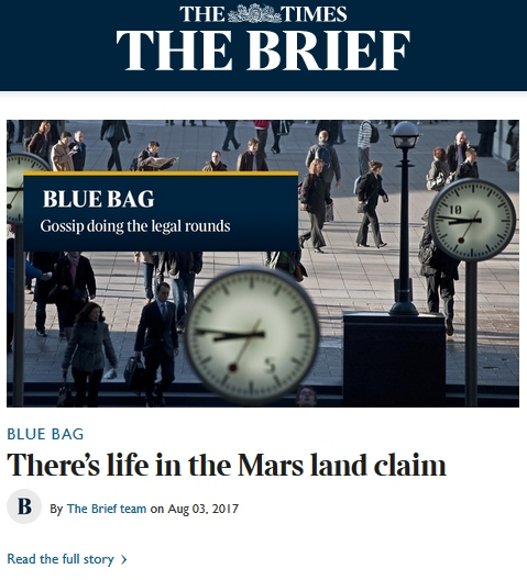 The Times Brief Mars Land Claim