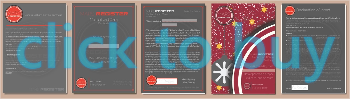 Mars for Sale - Mars Land Claim Certificates - for your claim to buy land on Mars